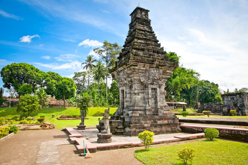 Candi Penataran寺庙在Blitar,印度尼西亚。 库存照片
