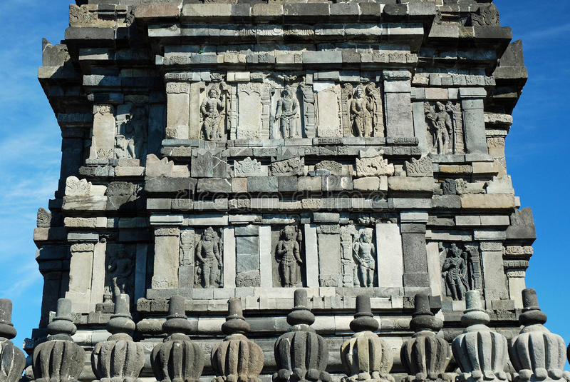 Candi Prambanan - Hindu temple detail - Java. Candi Prambanan or Candi Rara Jonggrang - Detail sculptures - 9th-century Hindu temple compound - Central Java royalty free stock photography