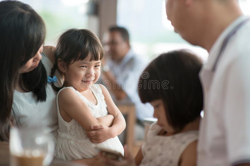 Candid photo of Asian family royalty free stock photos