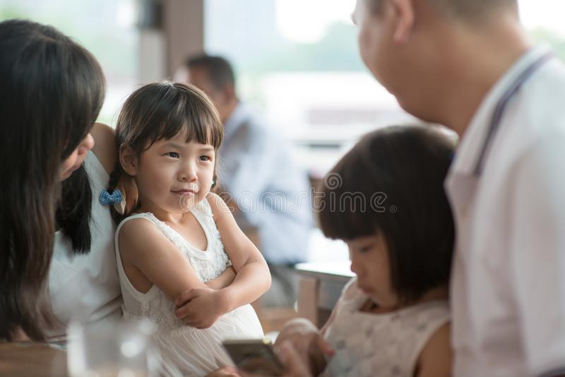 Candid photo of Asian family stock images