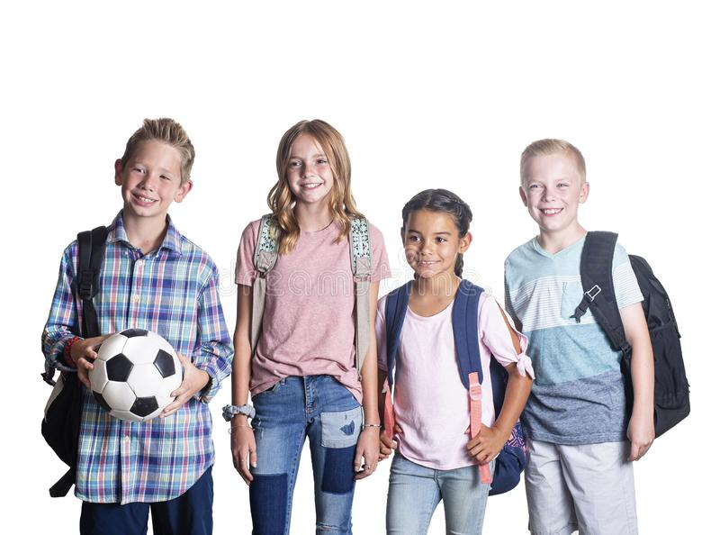 Candid portrait of a Group of Elementary school students royalty free stock images