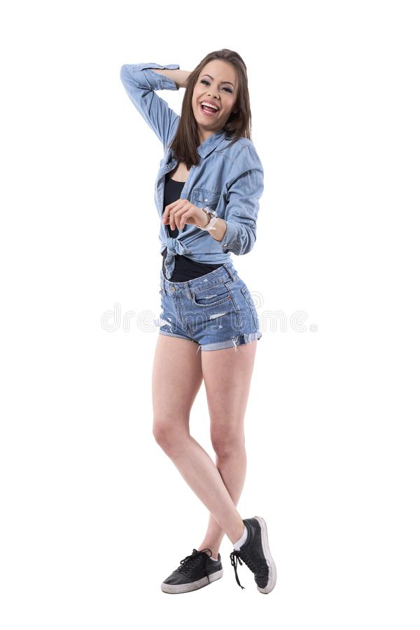 Candid shot of gorgeous young beautiful woman laughing hard. stock images