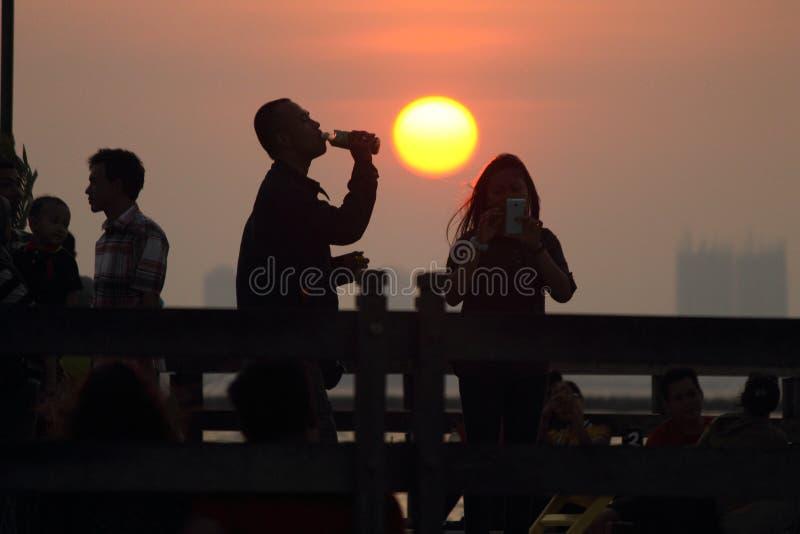 Candid sunset stock photo