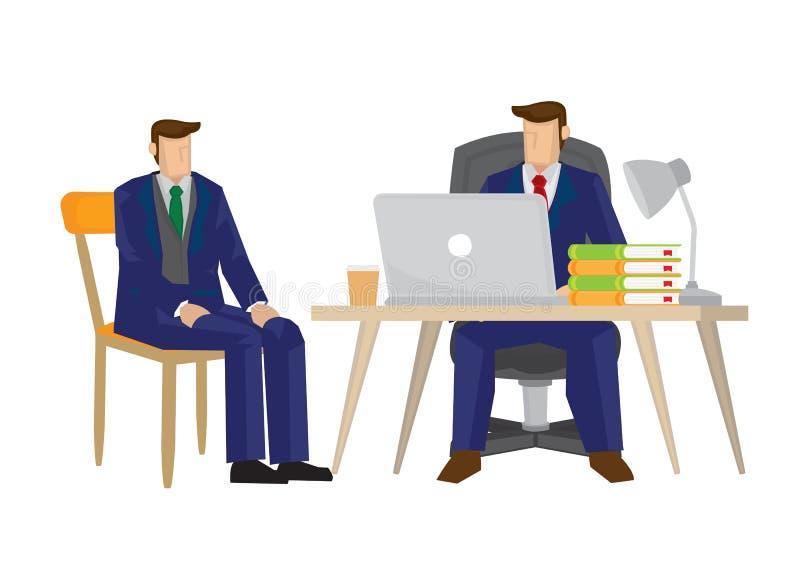 Candidat d'entrevue de patron pour une offre d'emploi pour sa société illustration de vecteur
