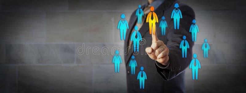Candidat de Selecting One Male d'homme d'affaires dans le groupe image libre de droits