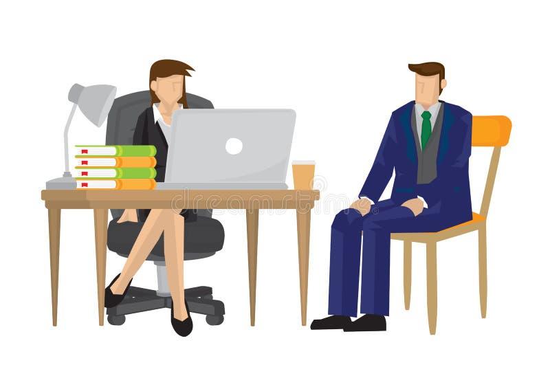 Candidat féminin d'entrevue de patron pour une offre d'emploi pour sa société illustration stock