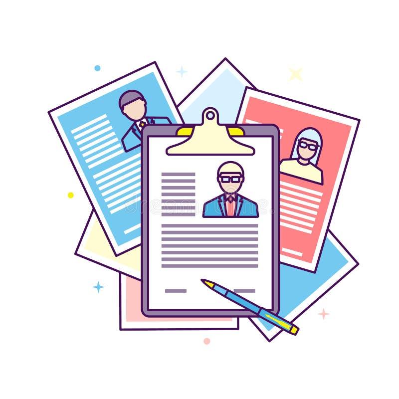Candidat Job Position de recrutement de curriculum vitae illustration libre de droits