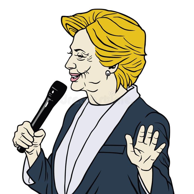 Candidat présidentiel Hillary Clinton Cartoon Caricature illustration stock