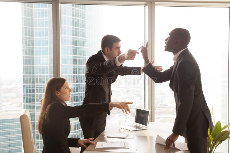 Candidate arguing with employer after interview royalty free stock photos