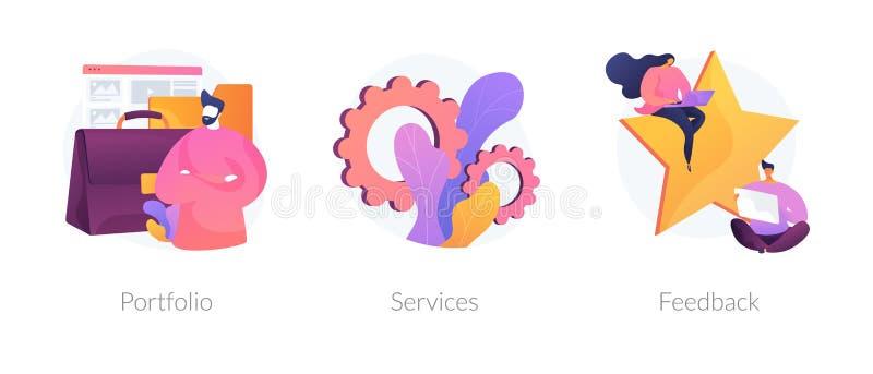 Website menu bar vector concept metaphors. Candidate CV, job searching Internet service web icons set. Customer review. Employee resume. Portfolio, services royalty free illustration