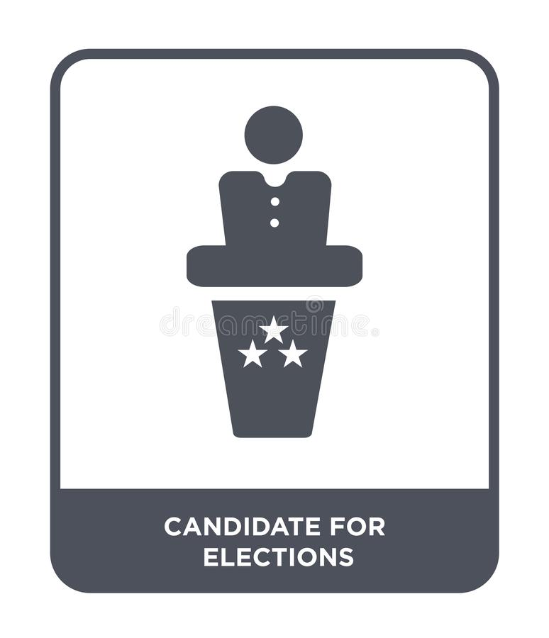 Candidate for elections icon in trendy design style. candidate for elections icon isolated on white background. candidate for. Elections vector icon simple and stock illustration