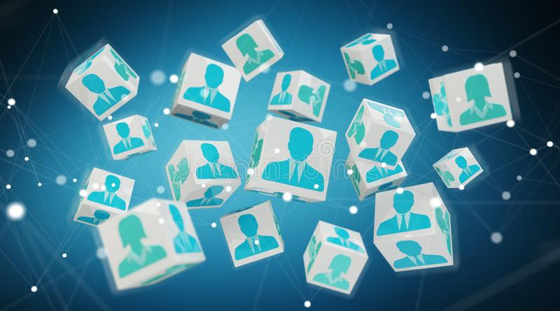 Candidate for a job cube illustration 3D rendering stock illustration
