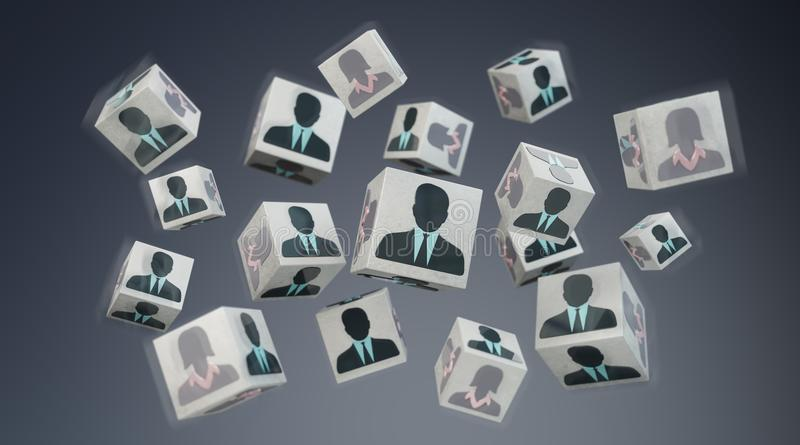 Candidate for a job cube illustration 3D rendering royalty free illustration