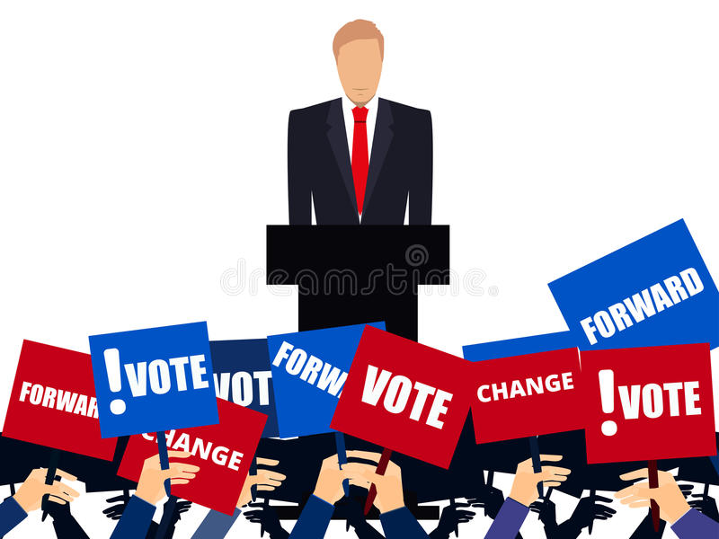 Candidate of party involved in debate. Presidential candidate. Election campaign. Speech from the rostrum. Vector vector illustration