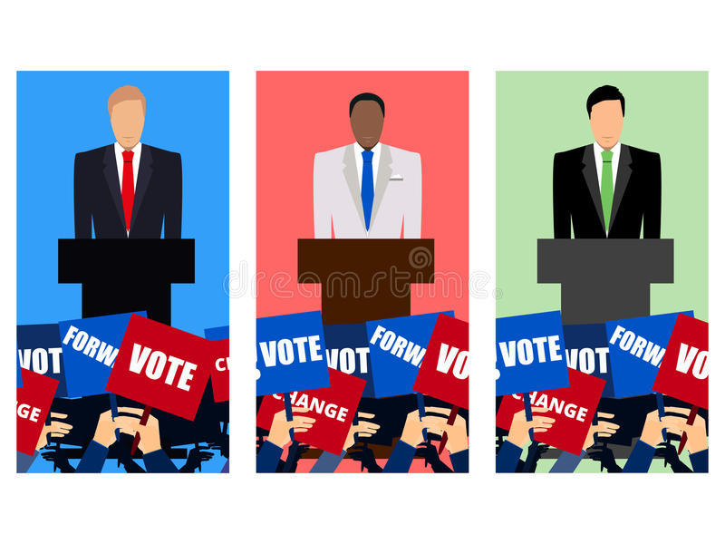 Candidate of party involved in debate. Presidential candidate. Election campaign. Speech from the rostrum. Vector illustration royalty free illustration
