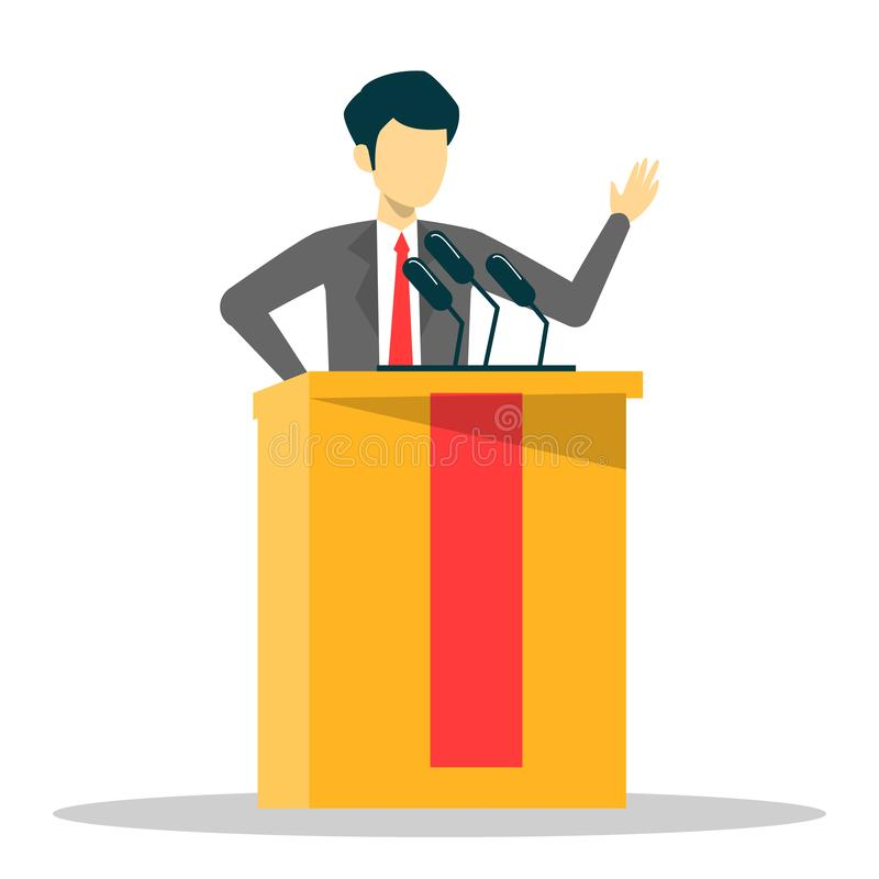 Candidate for president standing in the suit at tribune. Vector isolated. Speaker talking Person at the podium speak to the microphone. Political person royalty free illustration