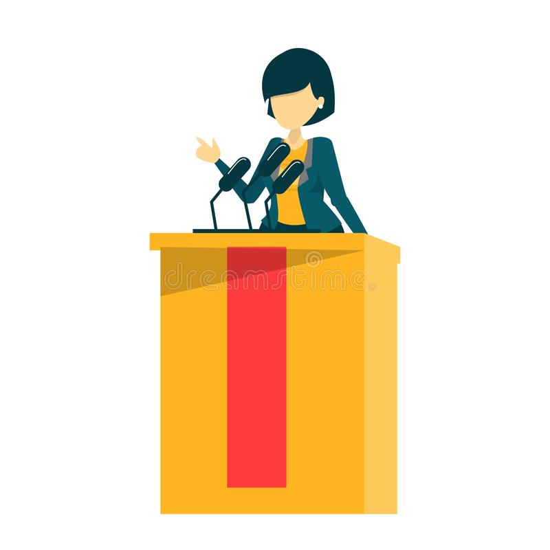 Candidate for president standing in the suit at tribune. Vector isolated. Speaker talking. Person at the podium speak to the microphone. Political person stock illustration