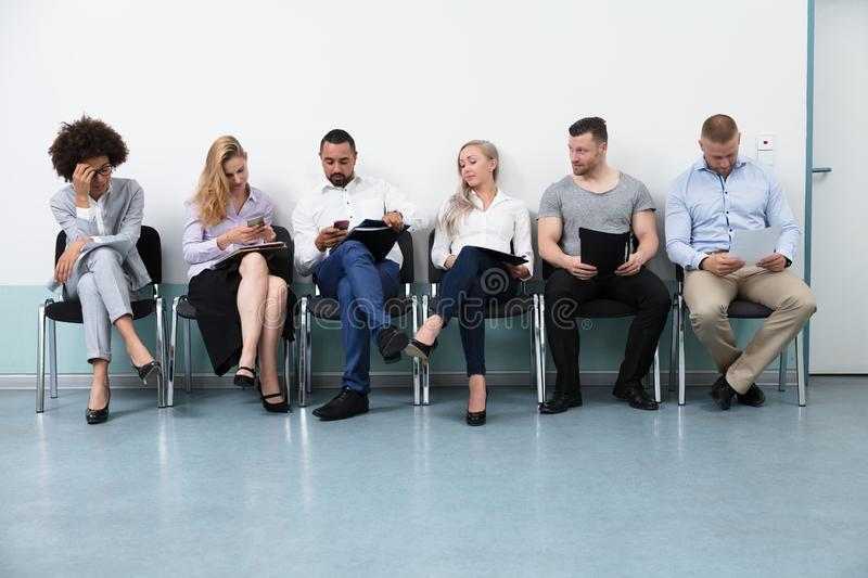 Candidates Waiting For An Interview stock photos