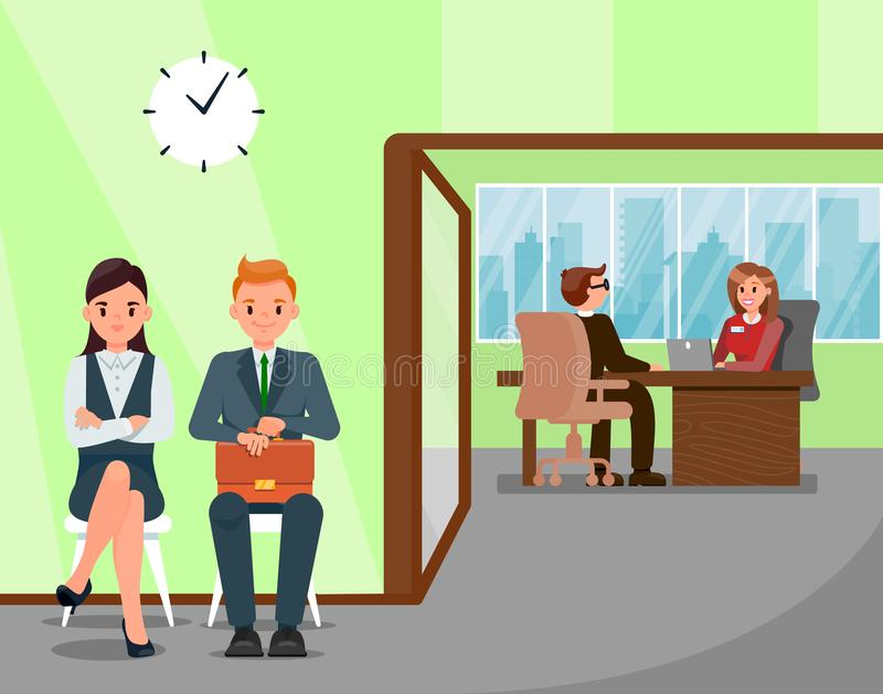 Candidates Waiting for Job Interview Illustration. HR Manager Talking with Applicant in Office Cartoon Characters. Female Employer Working on Laptop. Man in royalty free illustration