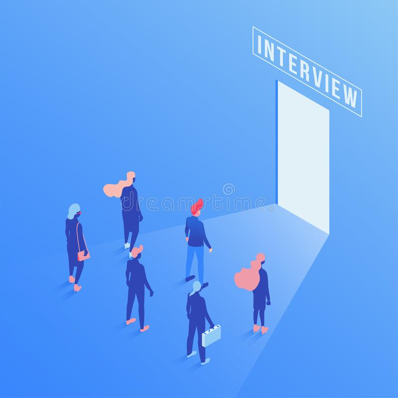 Candidates waiting job interview isometric illustration. Future career opportunities and goals metaphor, employees. Simple characters. Employment service, job royalty free illustration
