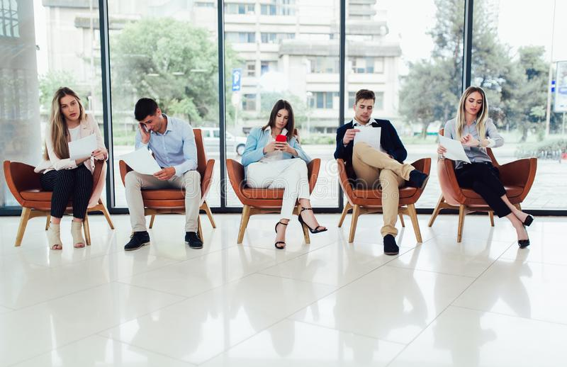 Candidates waiting for a job interview royalty free stock photos