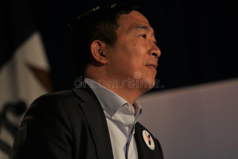 Candidato alla presidenza Andrew Yang fotografie stock libere da diritti