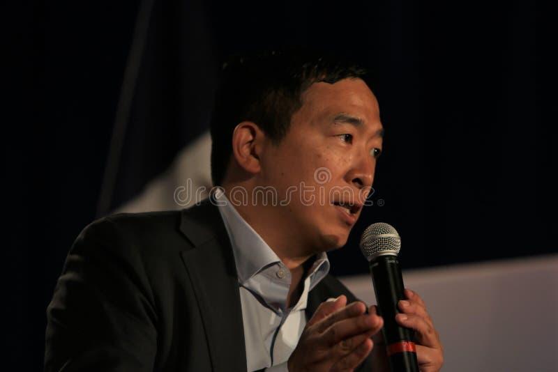 Candidato alla presidenza Andrew Yang immagini stock