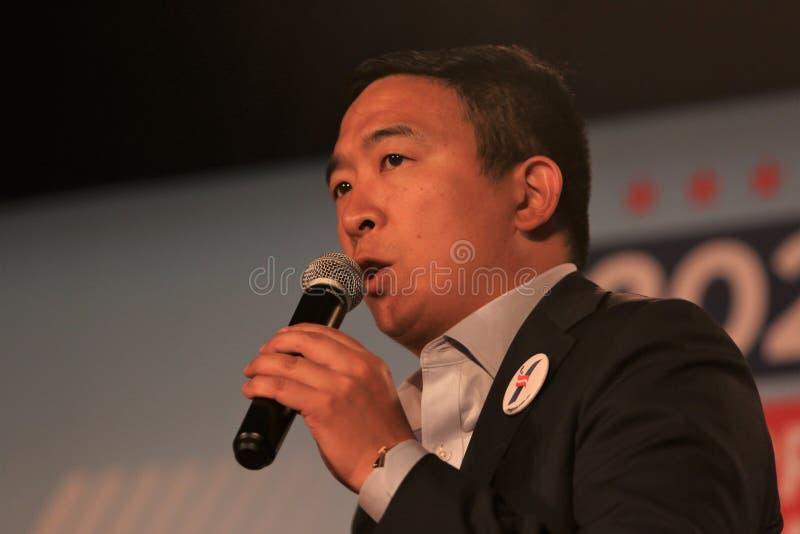 Candidato alla presidenza Andrew Yang immagine stock libera da diritti