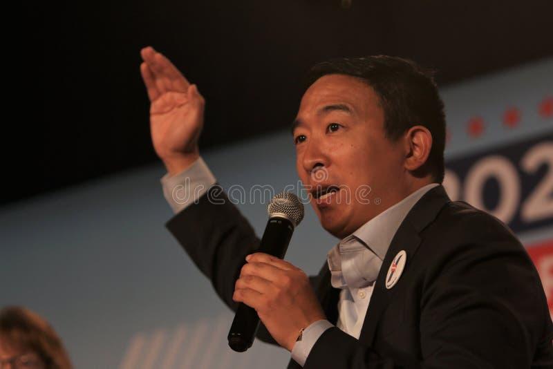 Candidato alla presidenza Andrew Yang immagine stock
