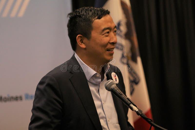 Candidato alla presidenza Andrew Yang fotografia stock libera da diritti