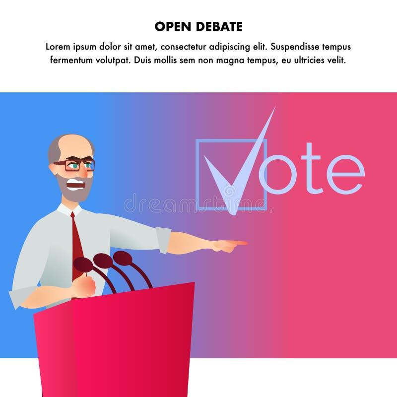 Candidato alla presidenza aperto di dibattito dell'illustrazione illustrazione di stock