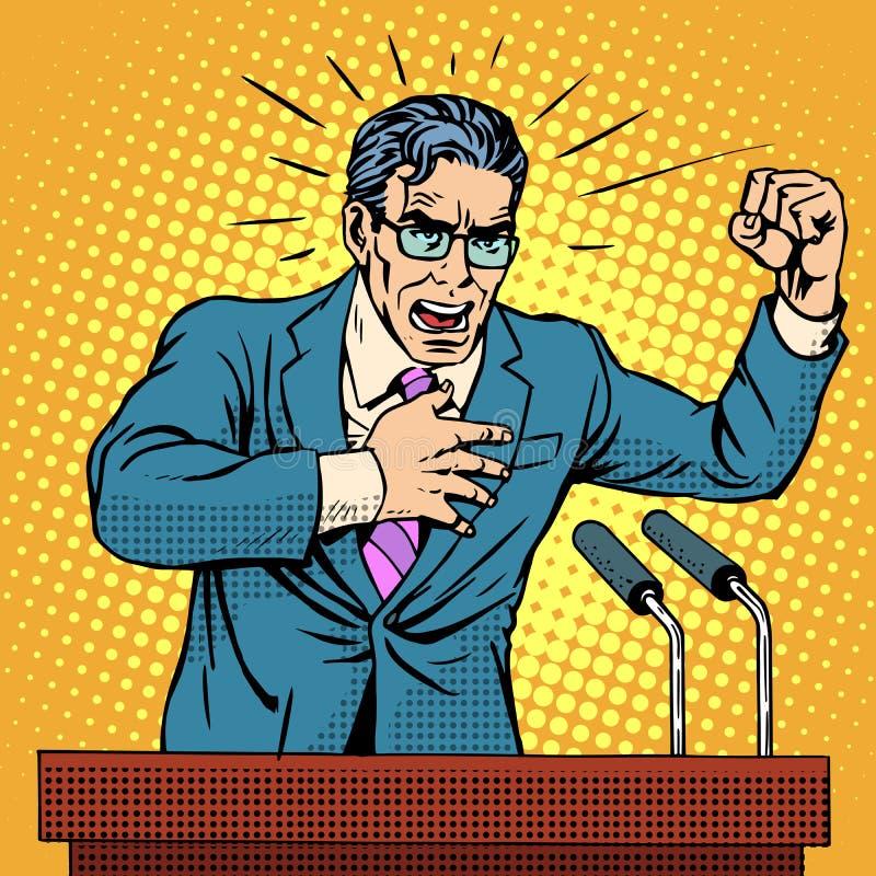 Candidato da política da campanha eleitoral no pódio ilustração stock