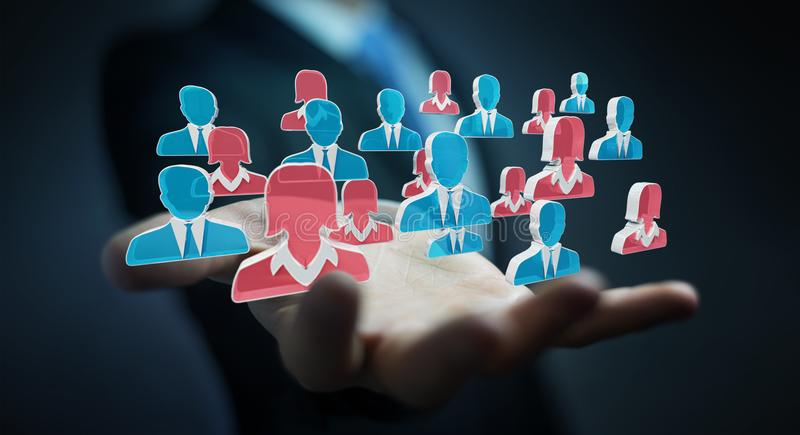 Candidato de recrutamento do homem de negócios para uma rendição do trabalho 3D ilustração royalty free