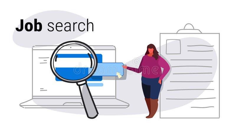 Candidato de trabajo gordo de la mujer que se inclina en curriculum vitae usando página web de alquiler de la aplicación informát libre illustration