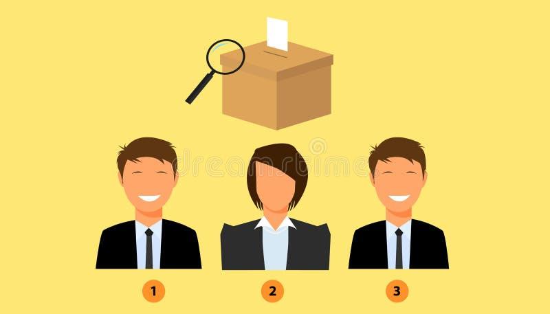 Candidato de votación con la caja de la elección como fondo stock de ilustración