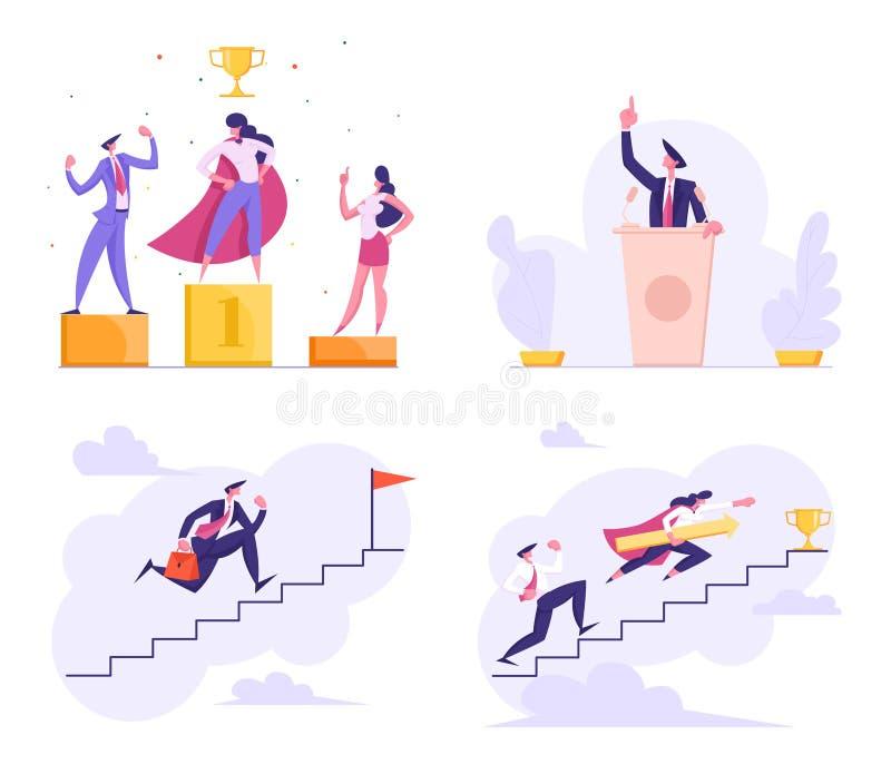 Candidato em debates políticos da disputa da tribuna, executivos no pódio do vencedor, gerente do super-herói, desafio do negócio ilustração royalty free