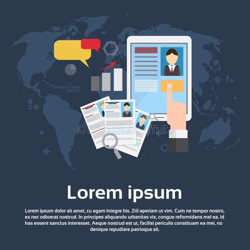Candidato Job Position Business Web Banner do recrutamento do curriculum vitae ilustração do vetor