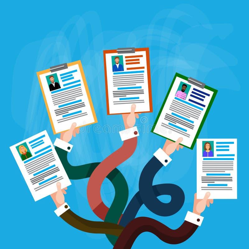 Candidato Job Position do perfil do CV da posse do grupo das mãos ilustração do vetor