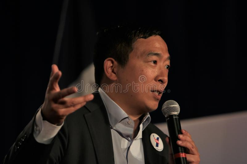 Candidato presidencial Andrew Yang fotos de stock royalty free