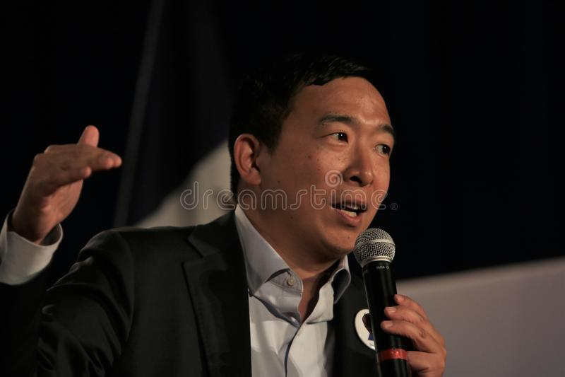 Candidato presidencial Andrew Yang fotografia de stock