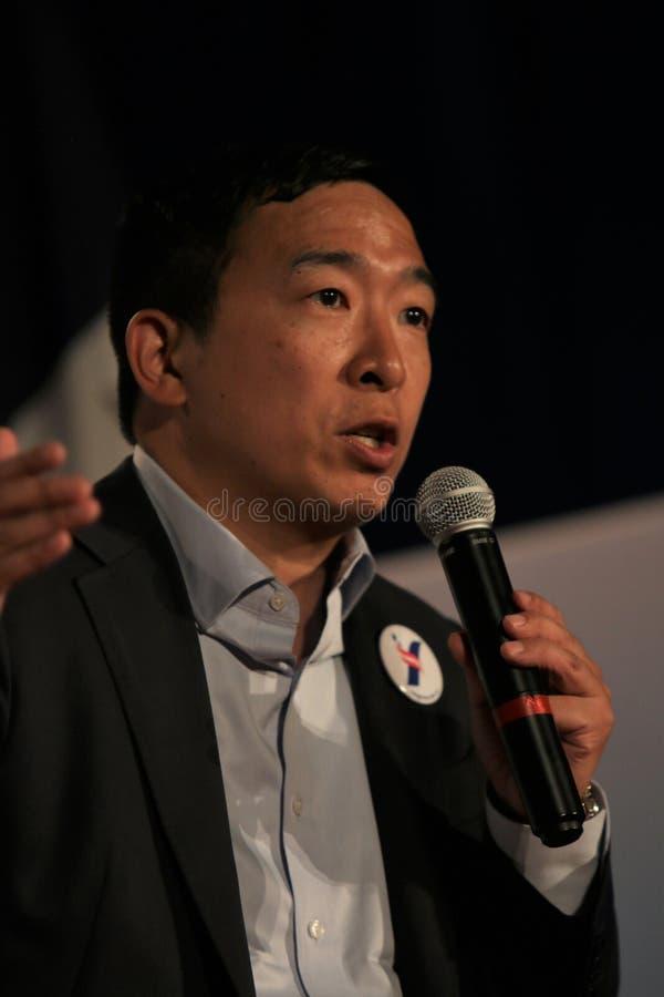 Candidato presidencial Andrew Yang imagens de stock royalty free