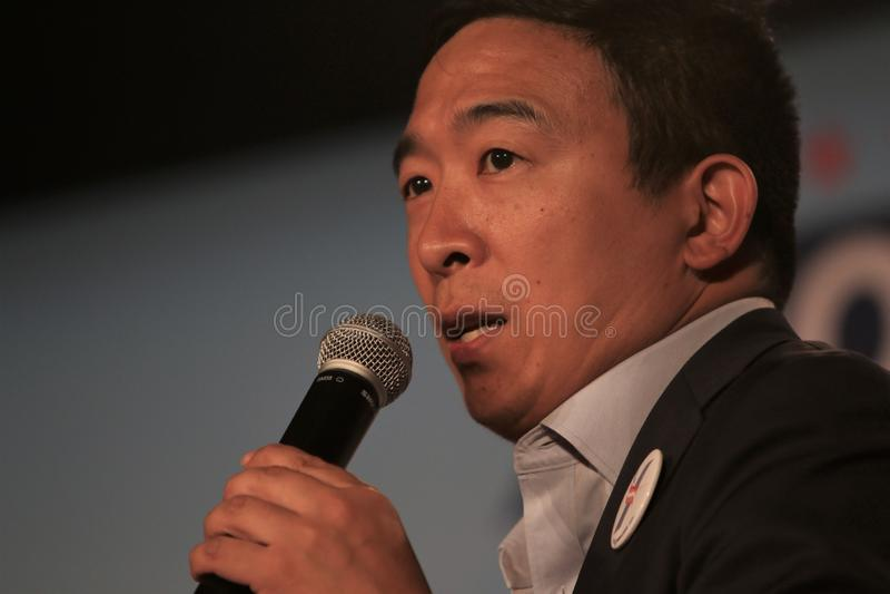 Candidato presidencial Andrew Yang fotografia de stock royalty free