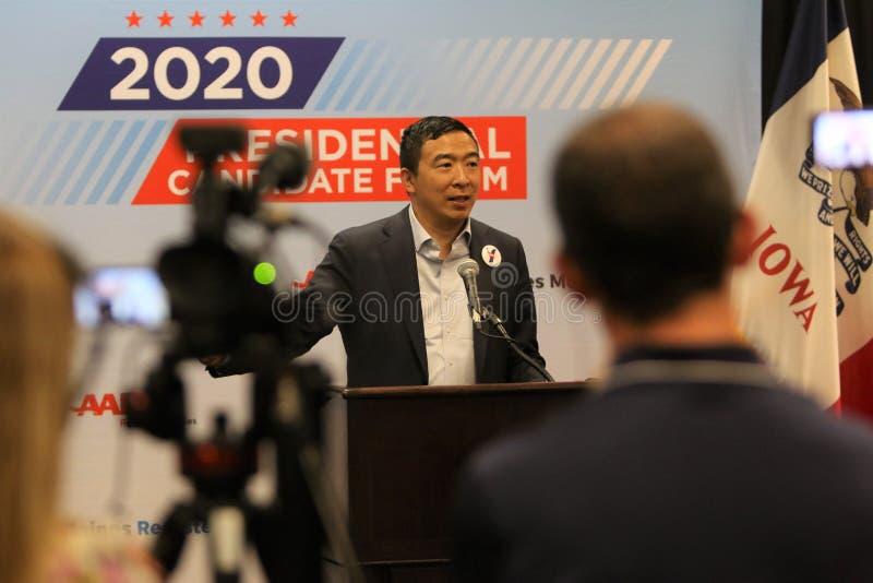 Candidato presidencial Andrew Yang imagem de stock royalty free