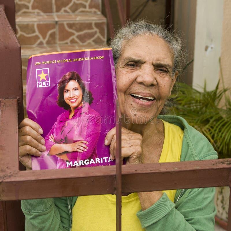 Candidato supportante domenicano Margarita Cedeño fotografia stock