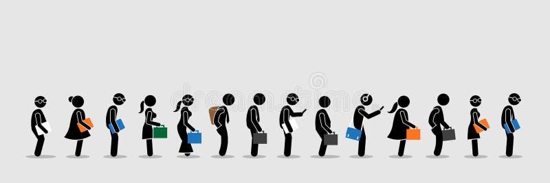 Candidatos a emprego ou trabalhadores e empregado de escritório que enfileiram-se acima em uma linha ilustração do vetor