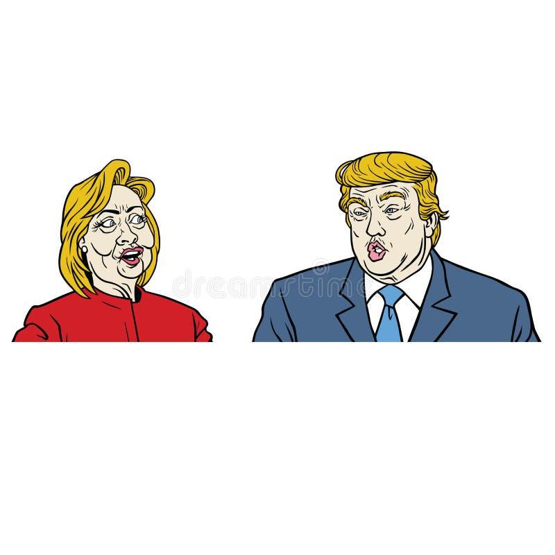 Candidatos presidenciais debate, Hillary Clinton Versus Donald Trump ilustração royalty free