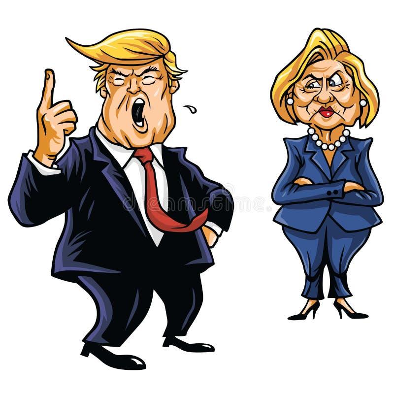Candidatos presidenciales Donald Trump Vs Hillary Clinton stock de ilustración