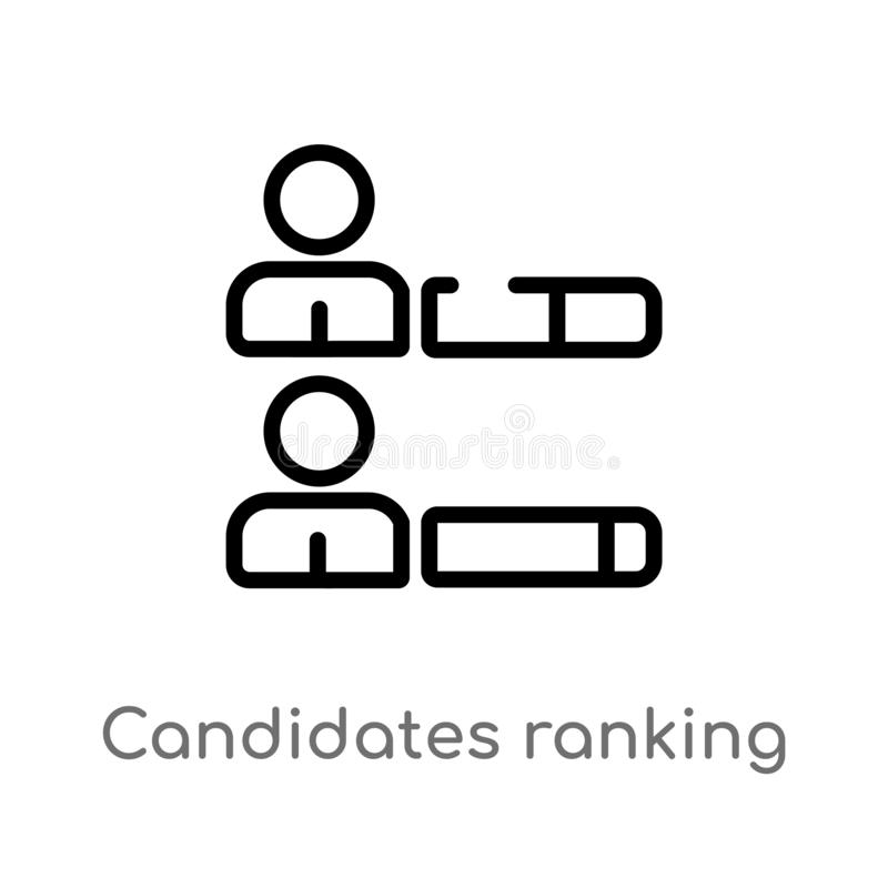 candidats d'ensemble rangeant l'icône graphique de vecteur ligne simple noire d'isolement illustration d'élément de concept polit illustration libre de droits