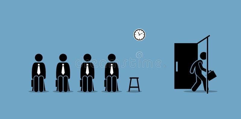 Candidats d'entrevue d'emploi attendant en dehors de la salle et un candidat marchant par la porte illustration de vecteur