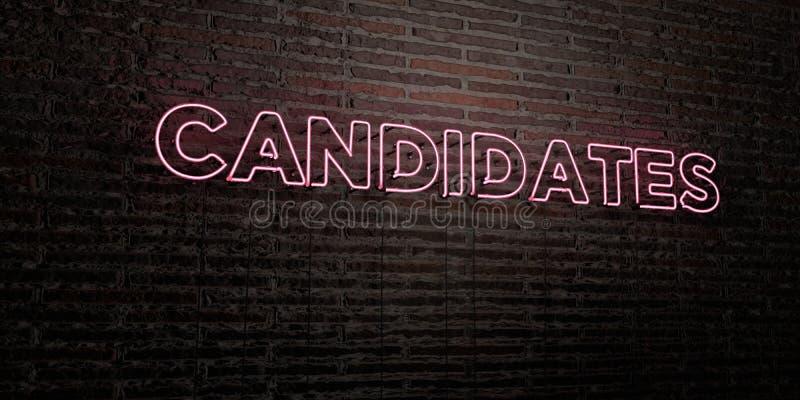 CANDIDATS - enseigne au néon réaliste sur le fond de mur de briques - image courante gratuite de redevance rendue par 3D illustration stock